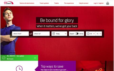 Screenshot of Home Page virgintrains.co.uk - Buy Cheap Train Tickets & Find Train Times - Virgin Trains - captured Sept. 26, 2015