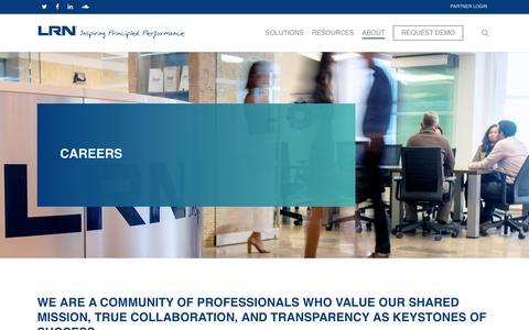 Screenshot of Jobs Page lrn.com - Careers – LRN Corporation - captured July 21, 2019