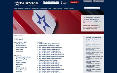 Screenshot of Site Map Page bluestarcooking.com - Sitemap - captured Sept. 22, 2014