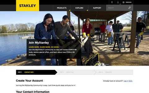 Screenshot of Signup Page stanleytools.com - Create Your Account | Stanley Tools - captured Feb. 29, 2016