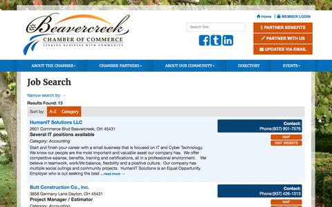 Screenshot of Jobs Page beavercreekchamber.org - Job Search - Beavercreek Chamber of Commerce , OH - captured Oct. 10, 2017