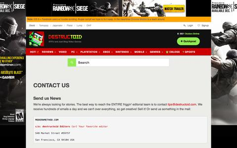 Screenshot of Contact Page destructoid.com - Video games, news, reviews, trailers, and gamer guides - captured Dec. 3, 2015