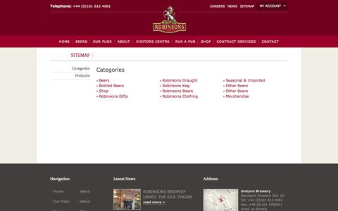 Screenshot of Site Map Page robinsonsbrewery.com - Sitemap - captured Sept. 24, 2014