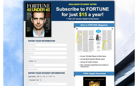 Screenshot of Landing Page fortune.com - Fortune Subscriptions - Student Offer - captured Feb. 1, 2017
