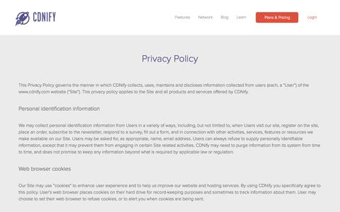 Screenshot of Privacy Page cdnify.com - Privacy Policy - captured Sept. 23, 2014