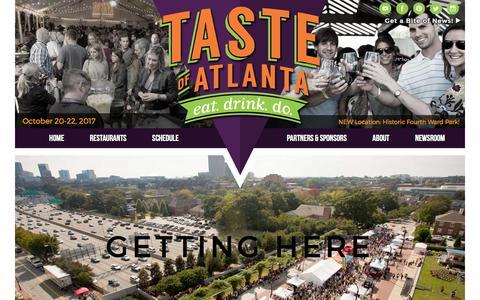 Screenshot of Maps & Directions Page tasteofatlanta.com - Taste of Atlanta - Oct 20-22, 2017 in Historic Fourth Ward Park - captured June 12, 2017