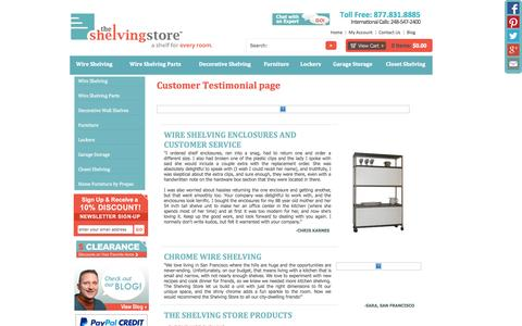 Screenshot of Testimonials Page theshelvingstore.com - Shelving Customer Testimonials - The Shelving Store - captured Sept. 25, 2014
