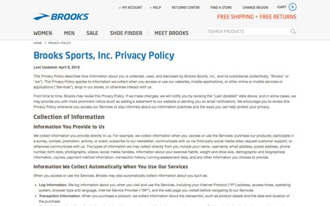Screenshot of Privacy Page brooksrunning.com - Privacy Policy | Brooks Running - captured Feb. 27, 2017