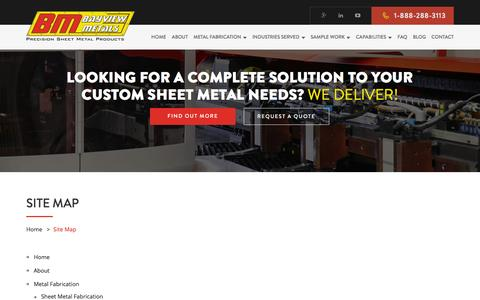 Screenshot of Site Map Page bayviewmetals.com - Sitemap | Sheet Metal Fabrication | BayviewMetals Ontario,Canada - captured Dec. 30, 2015