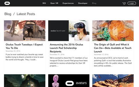 Screenshot of Blog oculus.com - Oculus Blog | Oculus - captured Nov. 22, 2016