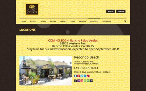 Screenshot of Locations Page yellowvase.com - Bakery, Flowers & Cafe | YELLOW VASE | Locations - captured Oct. 7, 2014