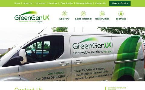 Screenshot of Contact Page greengenuk.com - Contact Us | GreenGenUK - captured Feb. 1, 2016