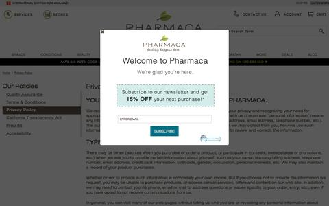Screenshot of Privacy Page pharmaca.com - Privacy Policy | Pharmaca - captured Sept. 1, 2017