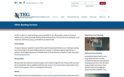 Screenshot of tegfcu.com - Other Banking Services – TEG Federal Credit Union - captured Dec. 2, 2017