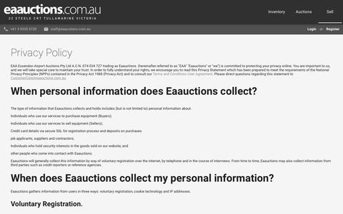 Screenshot of Privacy Page eaauctions.com.au - Privacy Policy | EA Auctions - captured July 12, 2017