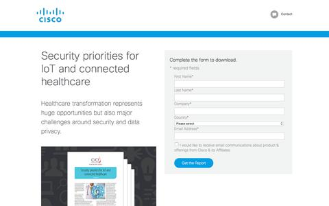 Screenshot of Landing Page cisco.com - Security priorities for IoT and connected healthcare - captured April 21, 2018
