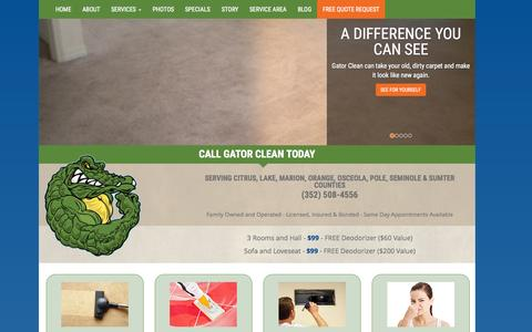 Screenshot of Home Page gatorclean.net - Carpet Cleaning | Tile Cleaning | Pressure Washing | Gator Clean | Lake, Marion, Sumter, Osceola, Orange, Seminole Counties, FL - captured July 19, 2015
