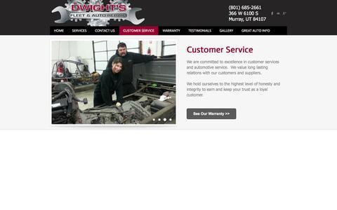 Screenshot of Support Page dwightsautorepair.com - Customer Service - Dwight's Fleet & Auto Repair - captured Feb. 9, 2016