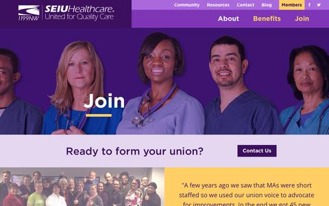 Screenshot of Signup Page FAQ Page seiu1199nw.org - Join - SEIU Healthcare 1199NW - captured Oct. 1, 2018