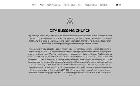 Screenshot of About Page cityblessing.com - About - captured July 18, 2018