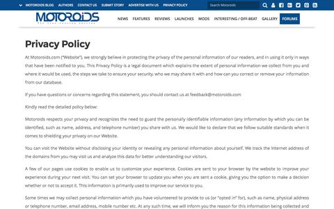Privacy Policy | Motoroids