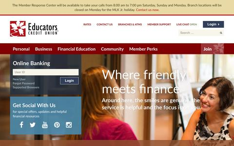 Screenshot of Home Page ecu.com - Educators Credit Union-Milwaukee, Racine, Kenosha & Waukesha, WI - captured Jan. 16, 2016