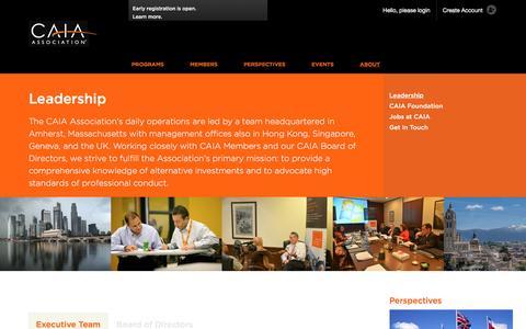 Screenshot of Team Page caia.org - Leadership | CAIA Association - captured Oct. 16, 2016