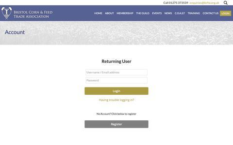 Screenshot of Login Page bcfta.org.uk - Account - captured Oct. 29, 2018