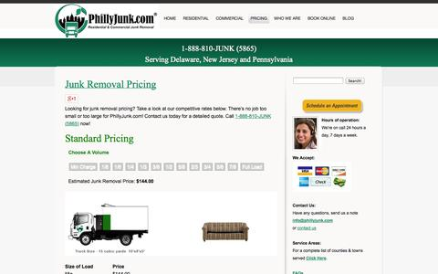 Screenshot of Pricing Page phillyjunk.com - Junk Removal Pricing-got junk, philly junk, house cleanout | PhillyJunk.com 888-810-JUNK (5865) - captured Oct. 2, 2014