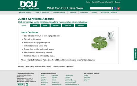 Jumbo Certificate | DCU | Massachusetts | New Hampshire