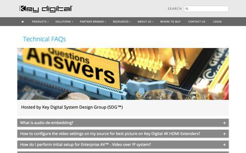 Screenshot of FAQ Page keydigital.com - Key Digital® - Technical FAQs - captured Oct. 15, 2018