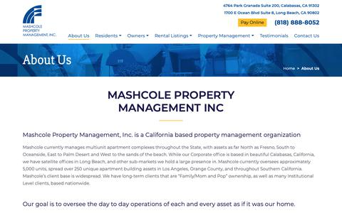 Screenshot of About Page mashcole.com - About Mashcole Property Management, Inc Los Angeles - captured Oct. 17, 2018