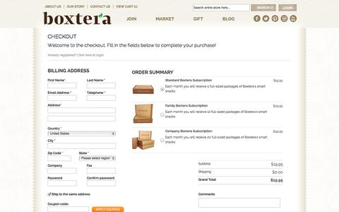 Screenshot of Signup Page boxtera.com - One Step Checkout - captured Sept. 19, 2014