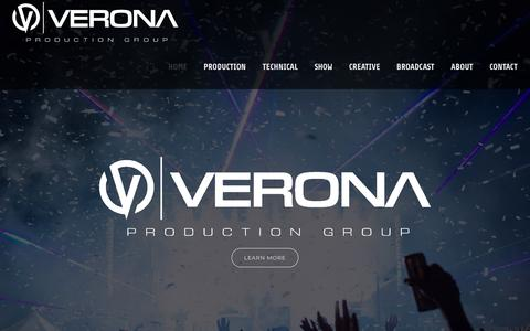 Screenshot of Home Page veronapro.com - Verona Production Group | Technical Management for Live Events - captured Oct. 18, 2018