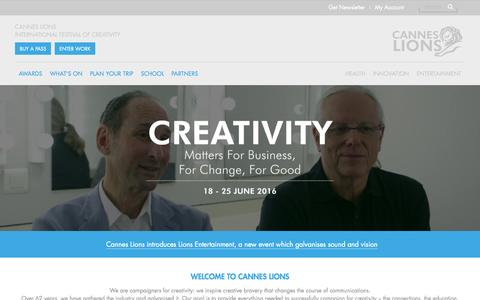 Screenshot of Home Page canneslions.com - Cannes Lions 2016 - captured Oct. 21, 2015