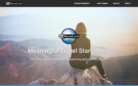 Screenshot of Home Page goabroad.com - Meaningful Travel Starts Here   GoAbroad.com - captured April 5, 2019