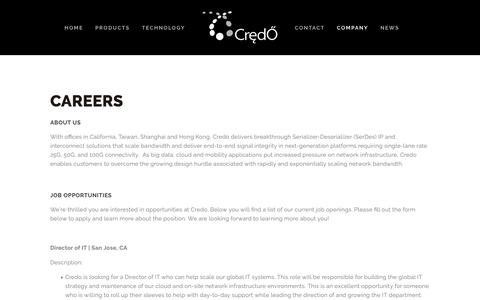 Screenshot of Jobs Page credosemi.com - Careers — Credo - captured Sept. 30, 2018