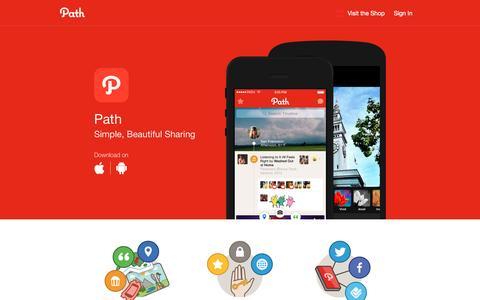 Screenshot of Home Page path.com - Path - Social - captured Jan. 6, 2017
