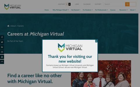 Screenshot of Jobs Page michiganvirtual.org - Careers at Michigan Virtual - captured July 14, 2017
