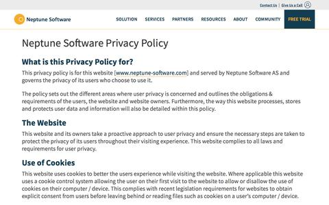Screenshot of Privacy Page neptune-software.com - Neptune Software Privacy Policy | Neptune Software - captured Feb. 2, 2018