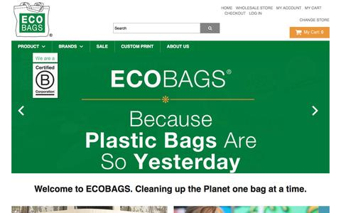 Screenshot of Home Page ecobags.com - ECOBAGS.com - Online shopping for eco-friendly reusable bags, sustainable products, news & information - captured July 14, 2017