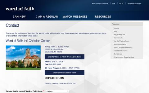 Screenshot of Contact Page wordoffaith.cc - Contact | Word of Faith Int'l Christian Center - captured Oct. 18, 2018