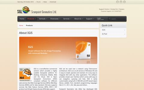 Screenshot of Products Page scanpointgeomatics.com - Products - captured Oct. 4, 2014