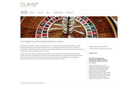 Screenshot of Home Page clavismanagement.com - Malta Gaming Management - Clavis Management Ltd - Malta Gaming Management - captured Sept. 28, 2018