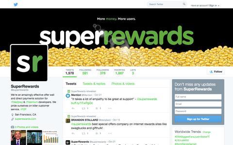 Screenshot of Twitter Page twitter.com - SuperRewards (@superrewards) | Twitter - captured Oct. 26, 2014