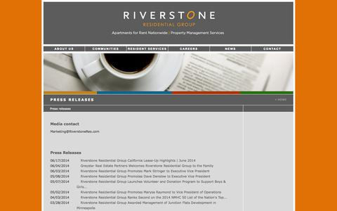 Screenshot of Press Page riverstoneres.com - Press releases | Riverstone Residential Group - captured Sept. 23, 2014