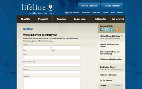 Screenshot of Contact Page lifelinechild.org - Contact Christian Adoption Agency | Lifeline Children's Services - captured Oct. 2, 2014