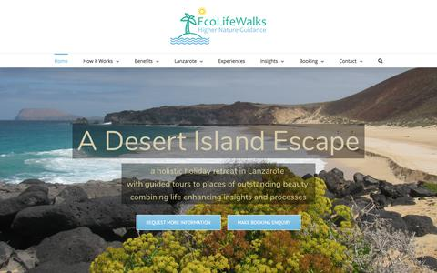 Screenshot of Home Page ecolifewalks.com - Home - Lanzarote Walking Holiday with Personal Guided Tours and Activities - captured July 16, 2018