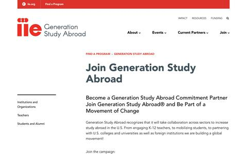 Screenshot of Signup Page iie.org - Join Generation Study Abroad - captured Oct. 28, 2018