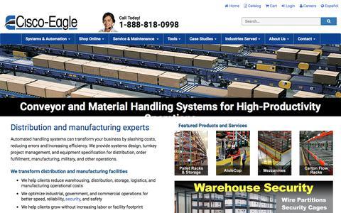 Screenshot of Home Page cisco-eagle.com - Material Handling Solutions & Conveyor Systems | Cisco-Eagle - captured June 27, 2019